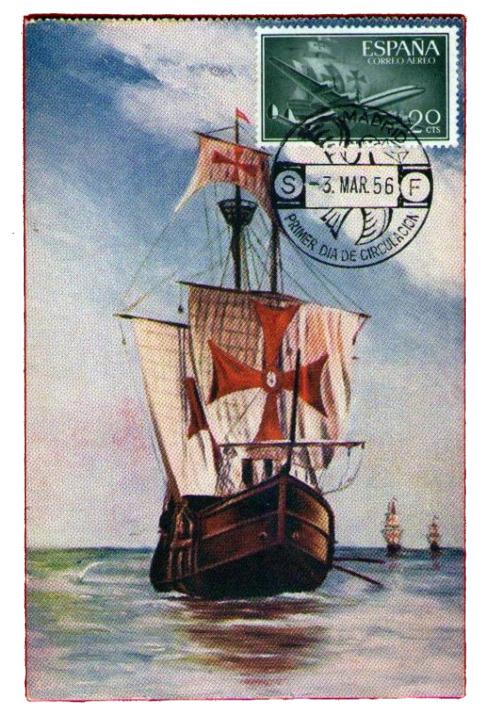La Santa María, en un sello de los años 50.