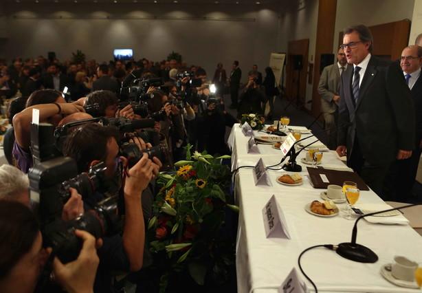 Artur Mas, a su llegada al desayuno informativo del Fórum Europa, esta miércoles en Barcelona.