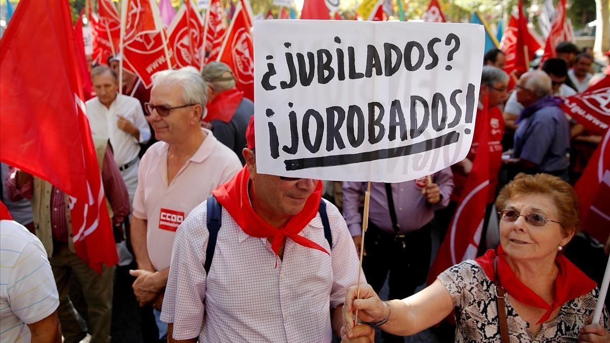 Manifestación por pensiones dignas en Madrid.