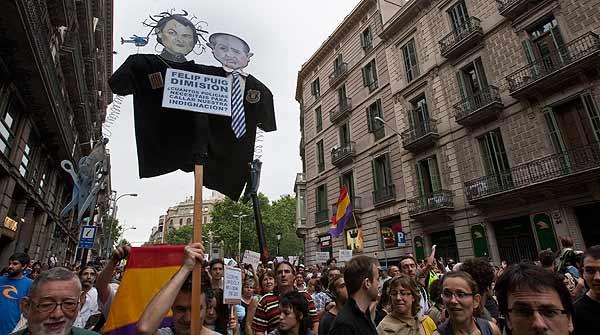 Manifestación del 19-J por las calles de Barcelona.