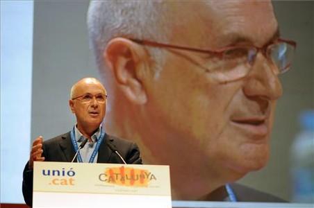 Duran Lleida, durante su discurso final en el congreso de Unió. DIEGO CALDERÓN