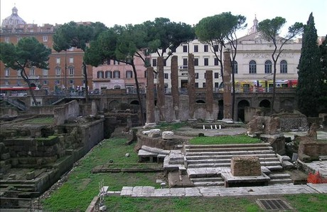 Las ruinas de la Curia de Pompeyo de Roma, en la actualidad.