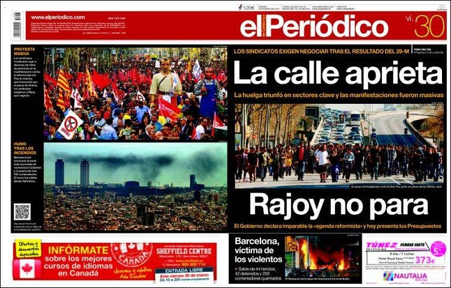 Portada de El Periodico recogida por El Periodico