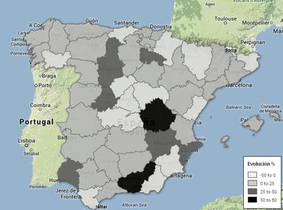 Evolución del número de suicidios entre 2011 y 2012. Fuente: INE.