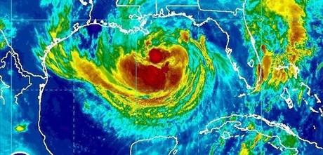Imagen de satélite de la situación de la tormenta 'Isaac' en el golfo de México, este martes.