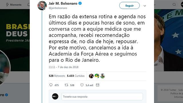 Bolsonaro cancelou agenda por recomendação médica. Foto: reprodução (Crédito: )