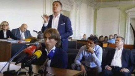 Luka Modric en el momento de prestar declaración ante el tribunal de Osijek