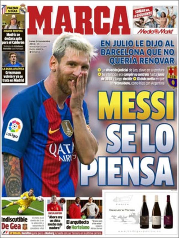 """'Marca': """"Messi le dijo no al Barcelona"""""""