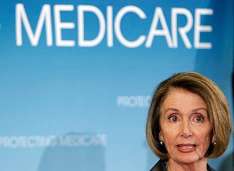 Nancy Pelosi en una rueda de prensa sobre la reforma sanitaria. | Afp