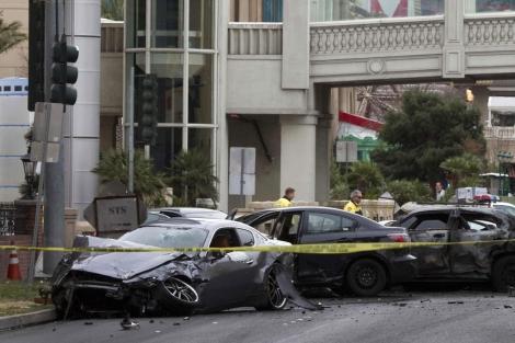 Imagen de los coches involucrados en el accidente en Las Vegas.   Reuters