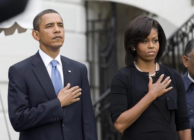 El presidente de los Estados Unidos y su esposa durante los actos con motivo del octavo aniversario de los atentados contra las Torres Gemelas.  Efe