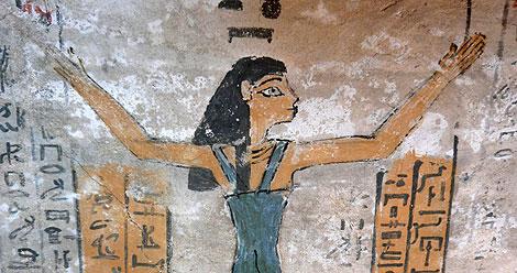 La diosa Nut, representada en la cámara funeraria de Djehuty.   US