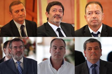 De i. a d. y de arriba a abajo: Díaz, Guerrero, Rivera, Rivas, Márquez y Barberá.   J.M.   D.L.