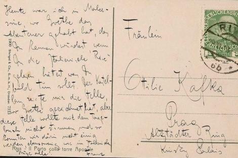 Una postal que Kafka envió a su hermana.  Efe