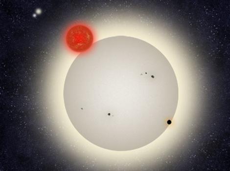 El planeta PH1 orbitando alrededor del sistema circumbinario. | Europa Press