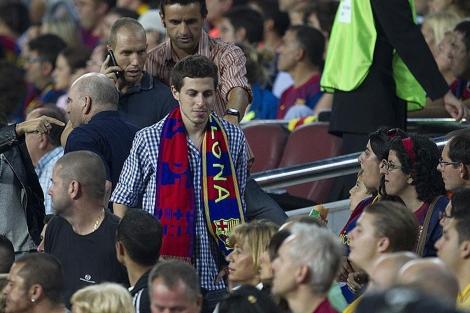 Shalit, en el Nou Camp para asistir al Clásico.