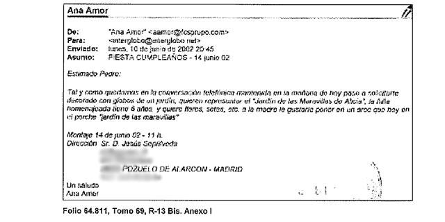 Correo electrónico con detalles sobre la fiesta de cumpleaños de una hija de Ana Mato. MÁS IMÁGENES