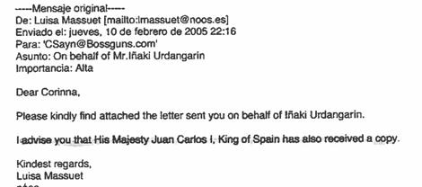Otro de los e-mails enviados a Corinna.
