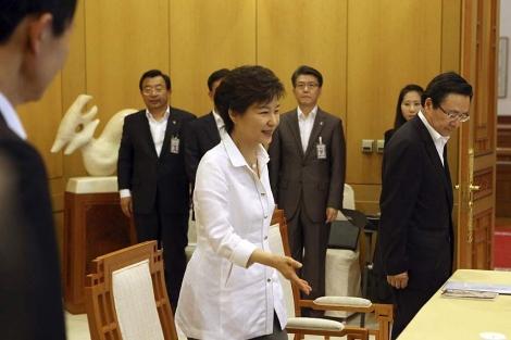 La presidenta, Park Geun-hye, en la reunión para preparar el encuentro fallido con el norte. | Efe