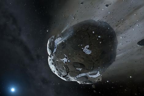 Recreación del asteroide con agua.   Science