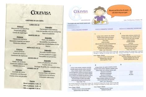 Menú del día: 5,65 euros para el diputado y 8 para el alumno