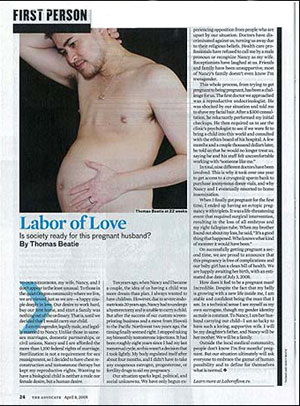 Thomas Beatie en el art�culo de 'The Advocate'.