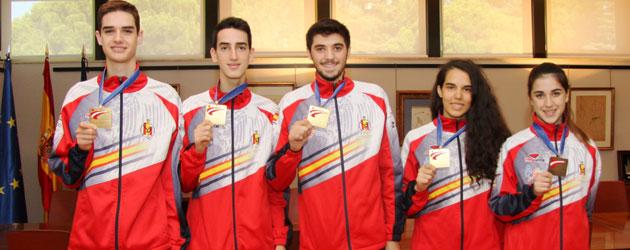 Javier Pérez Polo (campeón de Europa, menos de 63 kg); Jesus Tortosa (campeón de Europa -54 kg.); Eduardo Longobardi, menos de 68 kg, campeón de Europa -68 kg.); Marta Calvo (campeona de Europa -57 kg.), y Rosa Rodríguez (medalla de bronce -57 Kg.) FOTO: CSD.- Prensa