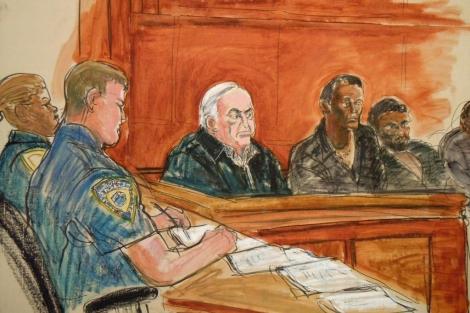 Dibujo de Dominique Strauss -Khan en la corte de Nueva York. | AP