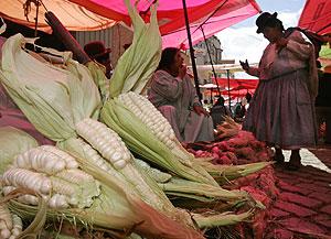 Puesto de alimentos en un mercado de La Paz, en Bolivia. (Foto: EFE)