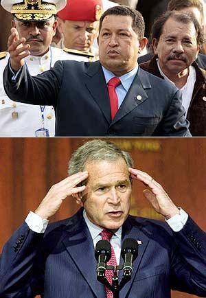 Hugo Chávez y George W. Bush. (Foto: AGENCIAS)