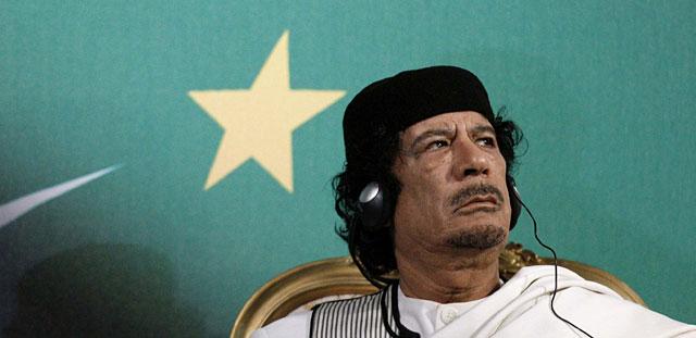 El líder libio Muamar Gadafi, durante una conferencia que ofreció en Roma. | Reuters