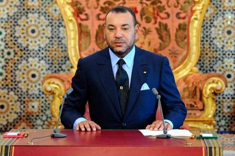 Mohamed VI, durante su discurso.