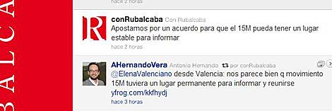 El Twitter de Rubalcaba apoyando un lugar fijo para el 15-M.