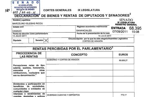 Detalle de la declaración de bienes de Marcelino Iglesias.