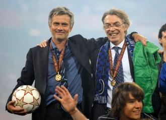 Mourinho y Moratti, tras ganar la Champions en el Bernabéu