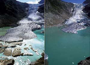 Deshielo del glaciar Trifgletscher entre el año 2003, a la izquierda, y 2004, a la derecha. (Foto: Glaciers Online)