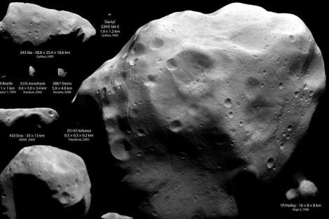 Ejemplos de asteroides y cometas visitados por naves espaciales.   NASA