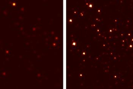 Vista del cúmulo globular M3 con un telescopio terrestre convencional (dcha.) y con la nueva óptica (izda.).   M.Hart