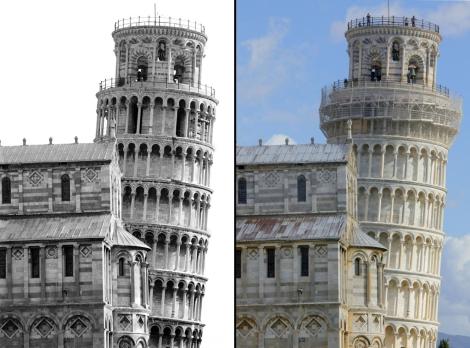 El antes y el después de las obras de restauración de la famosa Torre de Pisa. | Afp