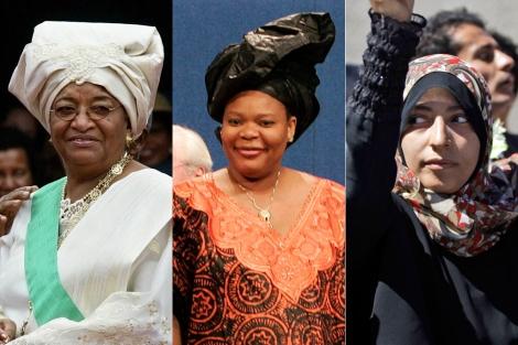 Ellen Johnson-Sirleaf; Leymah Gbowee y Tawakul Karman.