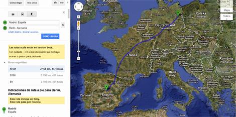 Imagen de la distancia entre Madrid y Berlín
