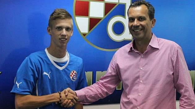 Dani Olmo cuando llegó al Dinamo de Zagreb. Foto: Web del club croata