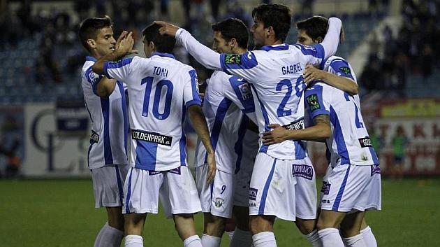 Los jugadores del Leganés celebran un gol