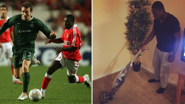Adu, con el Benfica en 2007 / FOTO: Getty; la imagen de la derecha, Adu con la aspiradora. / FOTO: @FreddyAdu