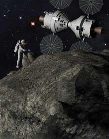 Recreación artística de una misión en un asteroide.  Lockheed Martin