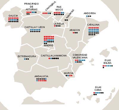 Mapa del dinero nacional. Cataluña, seguida de cerca por Madrid y Galicia, son las tres comunidades autónomas con más número de ricos por metro cuadrado en España. Las siguen País Vasco, donde tienen mucho peso las familias tradicionales de la burguesía vasca; Andalucía, con un número significativo de empresas cotizadas, y Castilla y León, donde los empresarios no parecen tan proclives a dar el salto a los parqués.