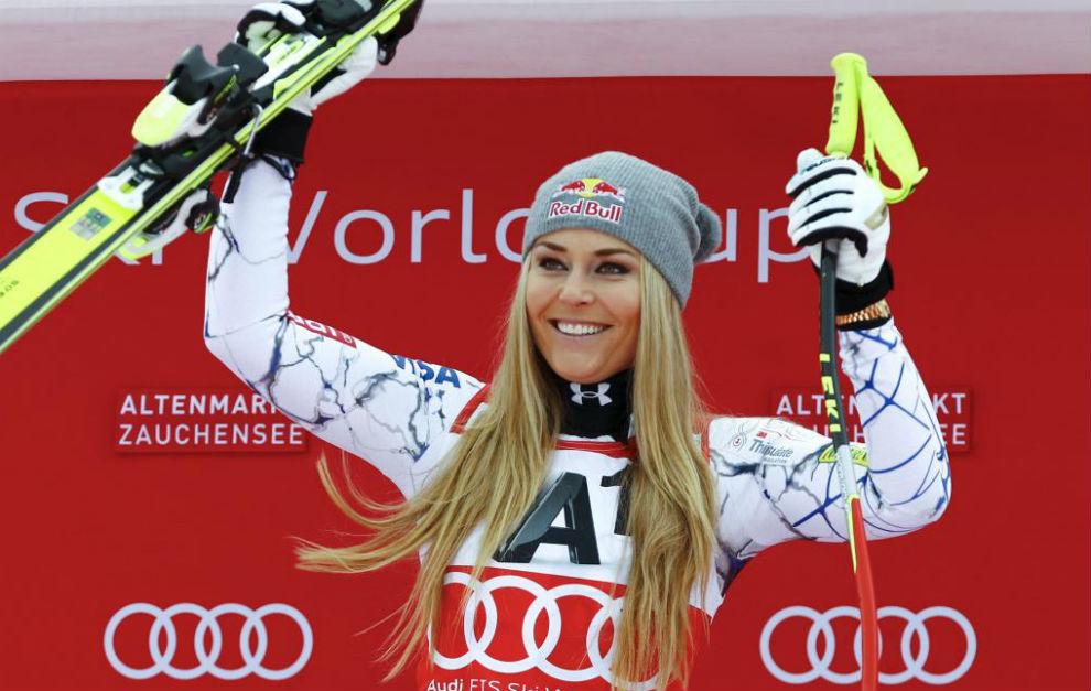 Lindsey Vonn tras su triunfo en Zauchensee esta temporada.