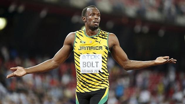 Bolt, tras ganar el 200 en Pekín.