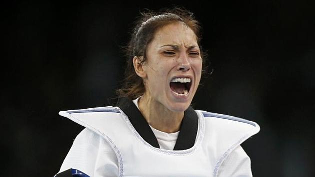 Yagüe celebra la conquista de la medalla de plata en Londres 2012.