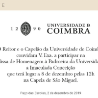 A Universidade de Coimbra e a missa da Imaculada – 2019